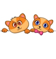 cat and dog cartoon with blank sign vector image vector image