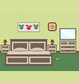 bedroom interior with a furniture including bed vector image