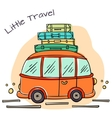 Little cartoon bus with baggage vector image