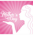 mothers day cute silhouette woman kiss vector image