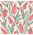 Pattern with pink tulips vector image