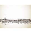 Skyline Sketch of Stockholm vector image