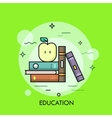Thin line education concept with books and apple vector image