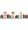 three school children and books vector image