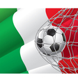 Soccer goal and Italy flag vector image vector image