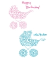 Pink and blue baby strollers with floral design vector image