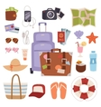 Summer vacation symbols beach travel holiday vector image