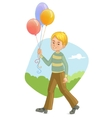 Boy with colorful balloons on the backgroun vector image