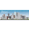 Denver Skyline with Gray Buildings and Blue Sky vector image