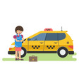 business woman calls a taxi by phone vector image