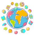 colorful of planet Earth on white background vector image