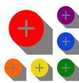 positive symbol plus sign set of red orange vector image