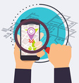 Smart phone with map under a magnifier Icons Flat vector image