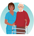 Nurse helps elderly patient vector image