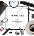 Workspace with office supplies and coffee cup vector image