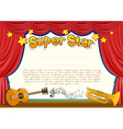 Certificate with musical instrument on stage vector image vector image