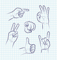 Set of various hand gestures vector image vector image