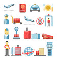airport pictograms isolated icons set for vector image