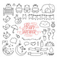 baby shower related design elements set hand vector image
