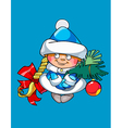 cartoon funny girl Snow Maiden holding a fir vector image