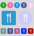 Eat sign icon Cutlery symbol Fork and knife 12 vector image