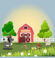 happy and cheerful farm animals vector image