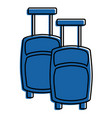 pair suitcases modern travel equipment with wheels vector image