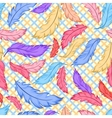 Seamless pattern with colorful feathers on plaid vector image vector image