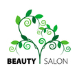 logo tree heart of green leaves in the beauty salo vector image vector image