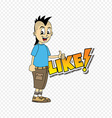 male cartoon character like text thumb up theme vector image