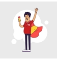 Fan of Spain national football team sports vector image