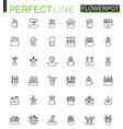 flowers in pots thin line web icons set outline vector image