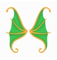 Green butterfly wings icon cartoon style vector image
