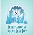 greeting card polar bear day vector image