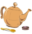 Kettle spoon and biscuit vector image