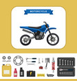 motorcycle with parts in flat style vector image