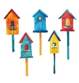 Set of colorful waterclor birdhoues vector image