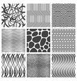 Set of nine geometrical patterns vector image