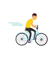 teen boy cycling on bicycle boy doing sport vector image