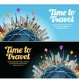 Travel to world Trip Landmarks on the globe vector image