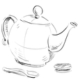 Kettle spoon and biscuit vector image vector image