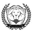 Grunge lion head emblem vector image vector image