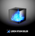 Cube with fire flames vector image vector image