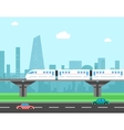 Train and cityscape Transportation concept vector image vector image
