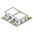 One storey connected cottage with flat roof vector image