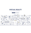 Virtual Reality Doodle Concept vector image