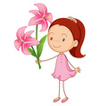 Girl and pink lilies vector image vector image