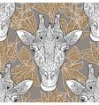 Giraffe head seamless pattern beige background vector image