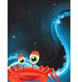 Green eyed cartoon crab vector image