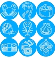 Seafood round blue icons vector image